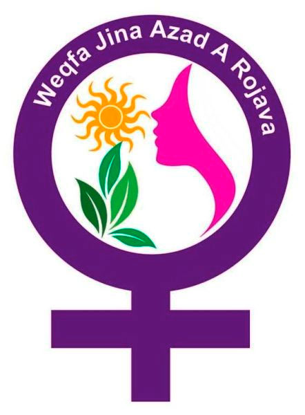 "Logo der ""Stiftung der Freien Frau in Rojava"" // ""Foundation of the Free Woman in Rojava"" // ""Wegfa Jina Azad A Rojava"""