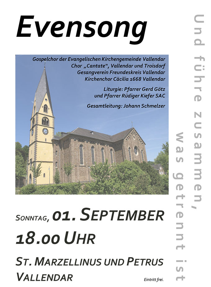 Plakat: Neunter Vallendarer Evensong